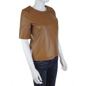 See by Chloe Short Sleeve Pullover Leather Shirt